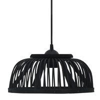 vidaXL Pendant Lamp Black Bamboo 40 W 34x14.5 cm Semicircle E27