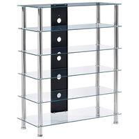 vidaXL HiFi Stand Transparent 90x40x113 cm Tempered Glass