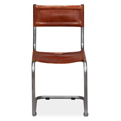 vidaXL Dining Chairs 6 pcs Brown Real Leather