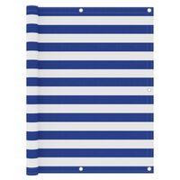 vidaXL Balcony Screen White and Blue 120x600 cm Oxford Fabric
