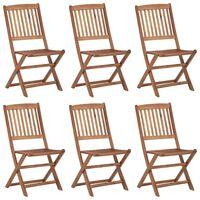 vidaXL Folding Outdoor Chairs 6 pcs Solid Acacia Wood