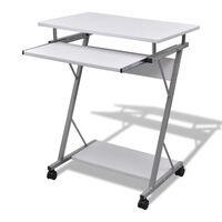 vidaXL Compact Computer Desk with Pull-out Keyboard Tray White