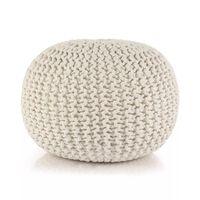 vidaXL Hand-Knitted Pouffe Cotton 50x35 cm White