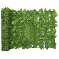 vidaXL Balcony Screen with Green Leaves 500x75 cm