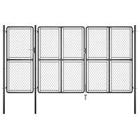 vidaXL Garden Gate Steel 150x395 cm Anthracite