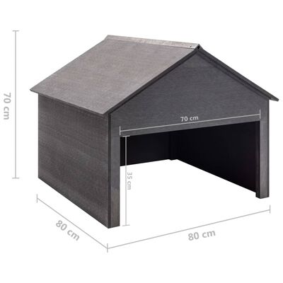 vidaXL Lawn Mower Garage Grey 80x80x70 cm WPC,