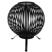 Esschert Design Fire Pit Ball Stripes Black Carbon Steel FF400