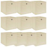 vidaXL Storage Boxes 10 pcs Cream 32x32x32 cm Fabric