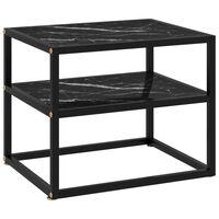 vidaXL Console Table Black 50x40x40 cm Tempered Glass