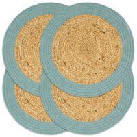 vidaXL Placemats 4 pcs Natural and Green 38 cm Jute and Cotton