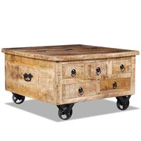 vidaXL Coffee Table Rough Mango Wood 70x70x40 cm