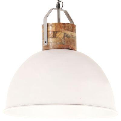 vidaXL Industrial Hanging Lamp White Round 51 cm E27 Solid Mango Wood