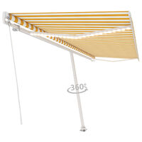 vidaXL Manual Retractable Awning with LED 500x300 cm Yellow and White