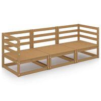 vidaXL Garden 3-Seater Sofa Honey Brown Solid Pinewood