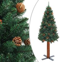 vidaXL Slim Christmas Tree with Real Wood and Cones Green 180 cm PVC