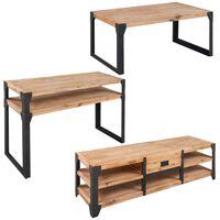 vidaXL Three Piece Living Room Furniture Set Solid Acacia Wood