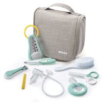 Beaba 9 Piece Hanging Baby Toiletry Pouch Grey