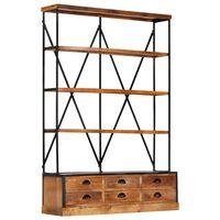 vidaXL 4-Tier Bookcase with 6 Drawers 122x36x181 cm Solid Mango Wood