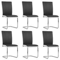 vidaXL Cantilever Dining Chairs 6 pcs Black Faux Leather