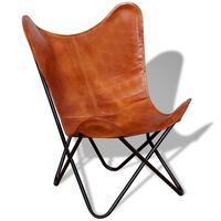 vidaXL Butterfly Chair Brown Real Leather