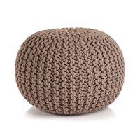 vidaXL Hand-Knitted Pouffe Cotton 50x35 cm Brown