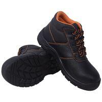 vidaXL Safety Shoes Black Size 7.5 Leather