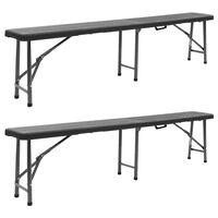 vidaXL Folding Garden Benches 2 pcs 180 cm HDPE Black