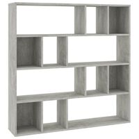 vidaXL Room Divider/Book Cabinet Concrete Grey 110x24x110 cm Chipboard
