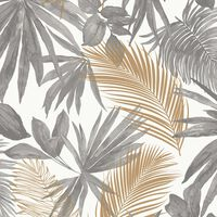 DUTCH WALLCOVERINGS Wallpaper Wild Palms Grey and Beige