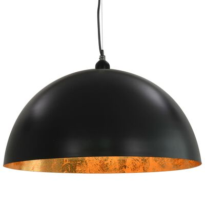 vidaXL Ceiling Lamps 2 pcs Black and Gold Semi-spherical 50 cm E27