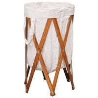 vidaXL Folding Laundry Basket Cream Wood and Fabric