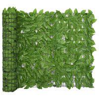vidaXL Balcony Screen with Green Leaves 400x100 cm