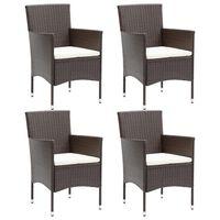 vidaXL Garden Dining Chairs 4 pcs Poly Rattan Brown