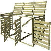 vidaXL Triple Wheelie Bin Shed 240 L Impregnated Wood