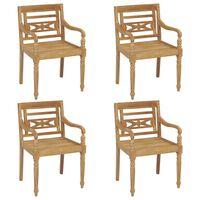 vidaXL Batavia Chairs 4 pcs Solid Teak Wood