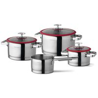 CUISINOX 4 Piece Cookware Set Silver and Red