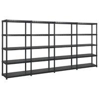 vidaXL Storage Shelf 5-Tier Black 340x40x185 cm Plastic