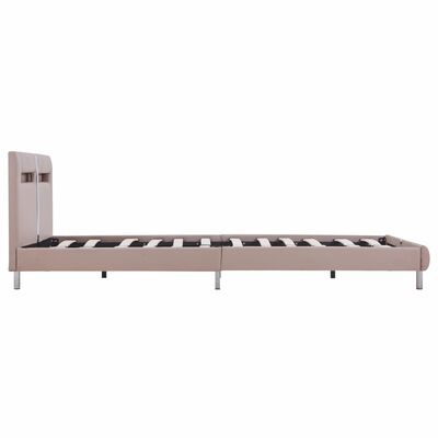 vidaXL Bed Frame with LED Cappuccino Faux Leather 135x190 cm