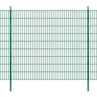 vidaXL 2D Garden Fence Panel & Posts 2008x1830 mm 2 m Green