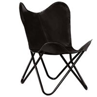 vidaXL Butterfly Chair Black Kids Size Real Leather