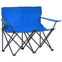 vidaXL 2-Seater Foldable Camping Chair Steel and Fabric Blue