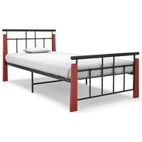 vidaXL Bed Frame Metal and Solid Oak Wood 90x200 cm