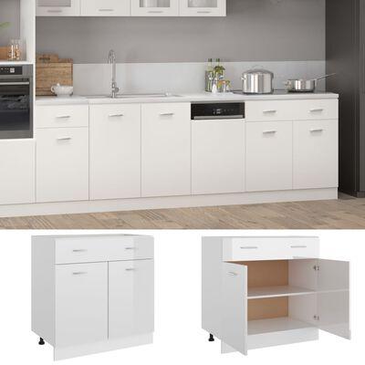 vidaXL Drawer Bottom Cabinet High Gloss White 80x46x81.5 cm Chipboard