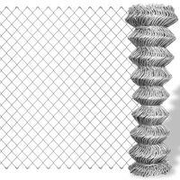vidaXL Chain Link Fence Galvanised Steel 25x1 m Silver