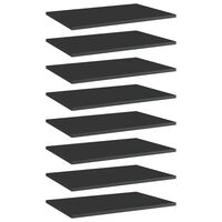 vidaXL Bookshelf Boards 8 pcs High Gloss Black 60x40x1.5 cm Chipboard