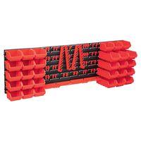 vidaXL 80 Piece Storage Bin Kit with Wall Panels Red and Black