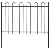 vidaXL Garden Fence with Hoop Top Steel 1.7x1.2 m Black