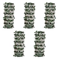 vidaXL Willow Trellis Fences 5 pcs with Artificial Leaves 180x120 cm