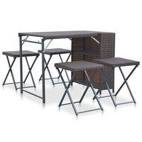 vidaXL 5 Piece Folding Outdoor Dining Set Poly Rattan Brown