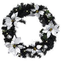 vidaXL Christmas Wreath with LED Lights Black 60 cm PVC